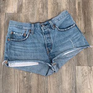 Levi's 501 Cutoff Blue Denim High Rise Shorts 26